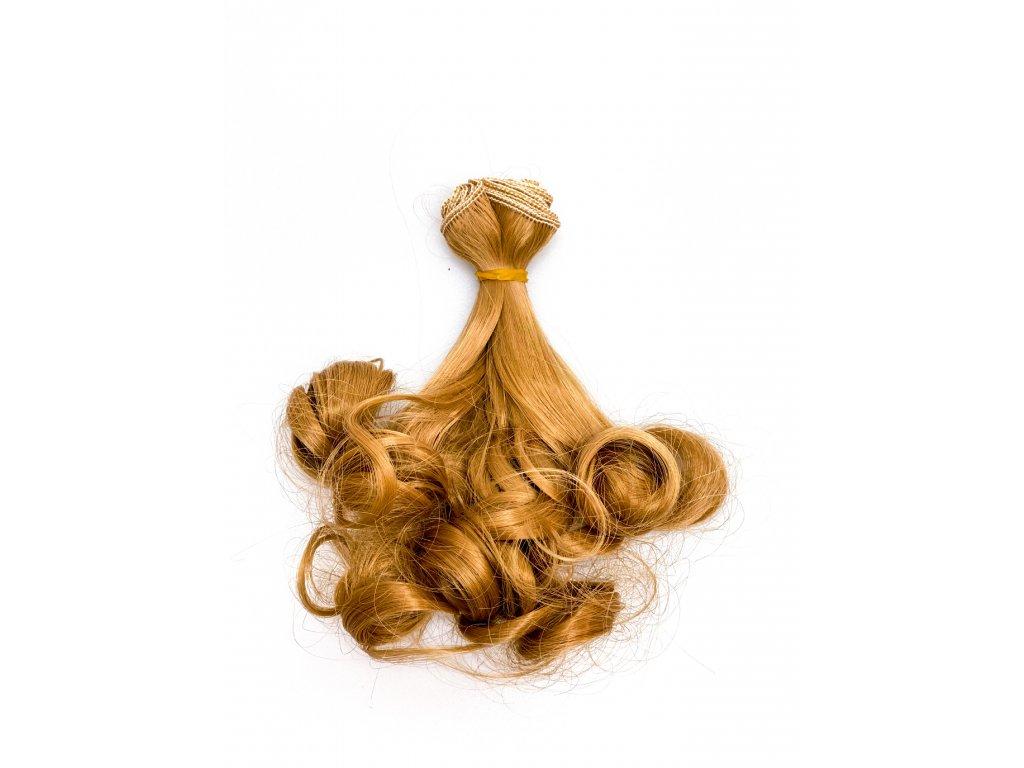 Umělé vlnité vlásky pro výrobu panenek - tmavá blond