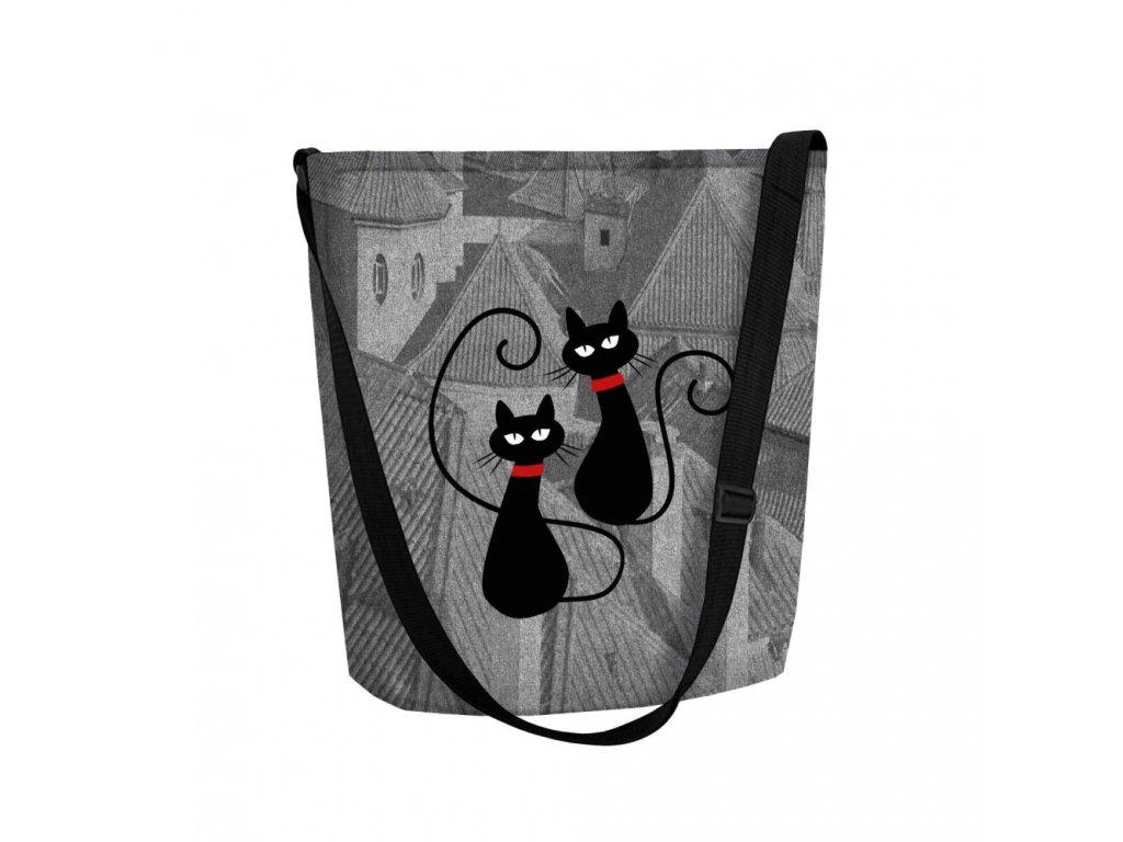 Filcová Eko kabelka Funky - Kočky na střeše