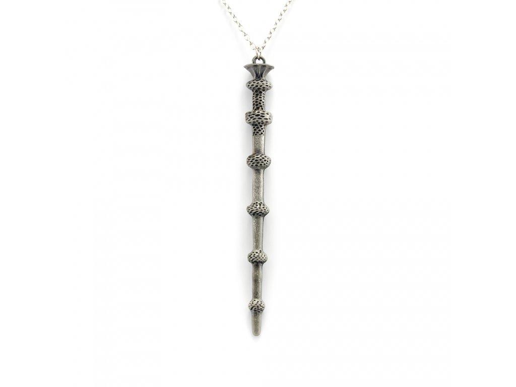 Harry Potter bezová hůlka Albuse Brumbála náhrdelník - cín