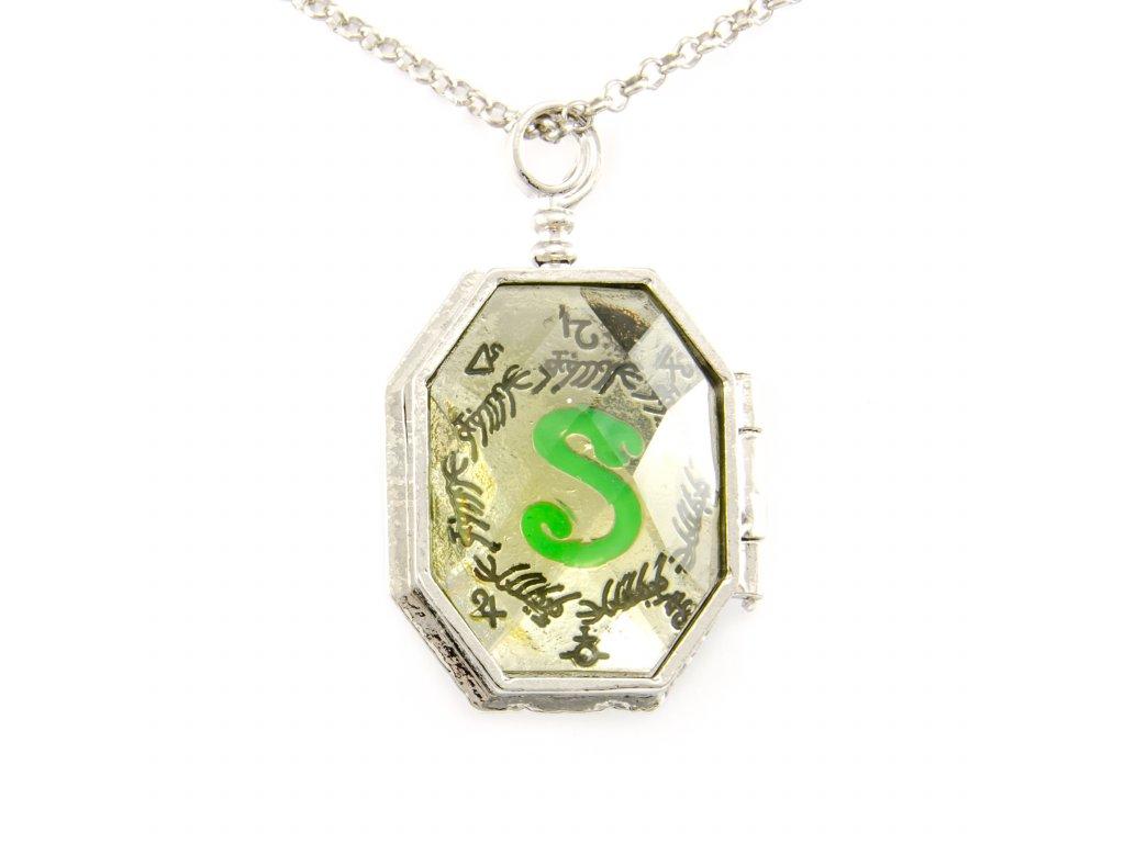Harry Potter náhrdelník viteál - otevírací medailon Zmijozel