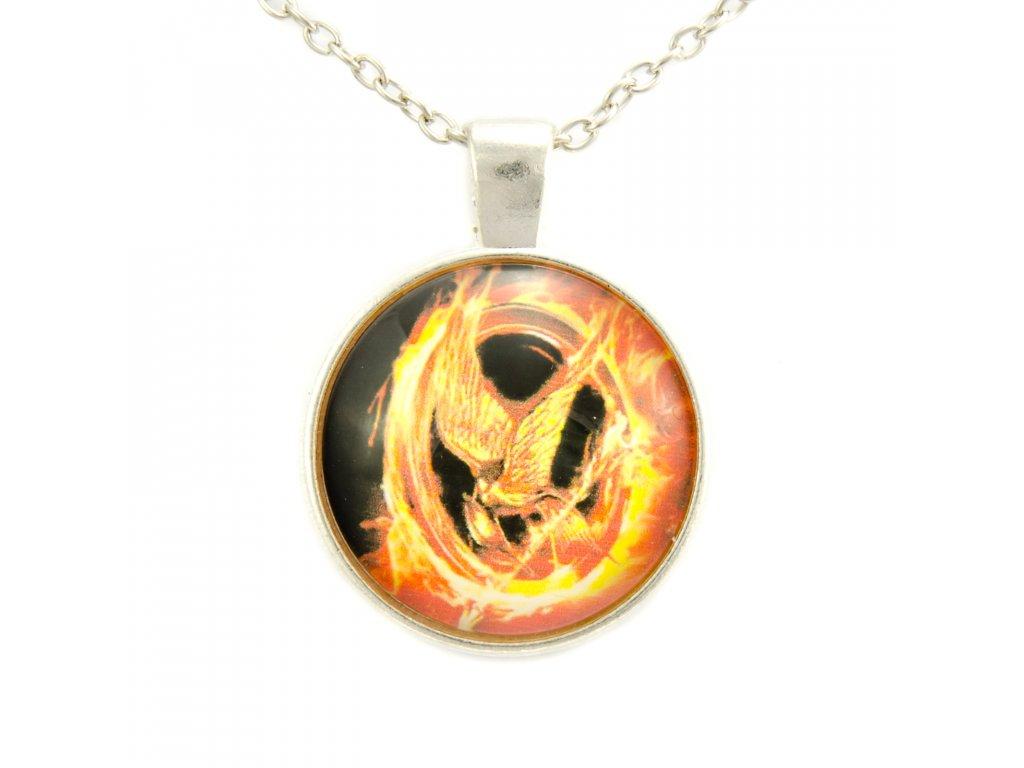Hunger Games náhrdelník Reprodrozd - kabošon
