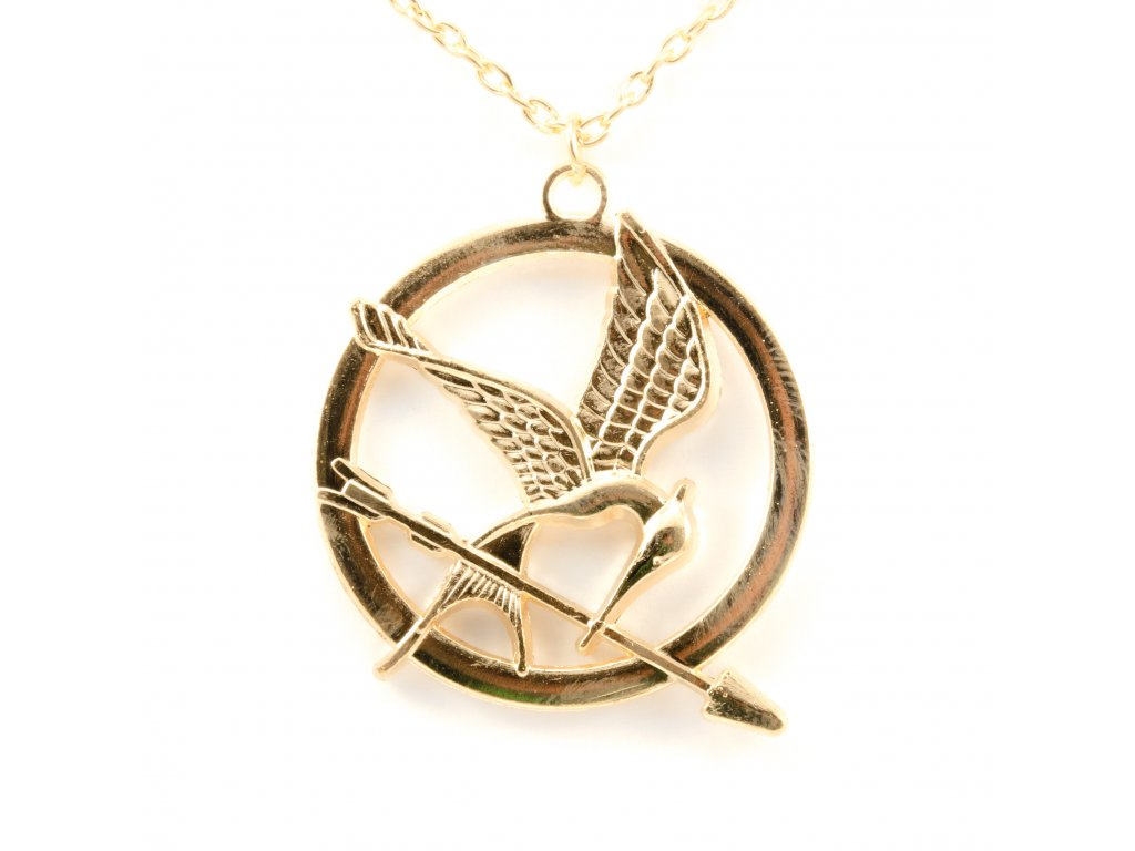 Hunger Games náhrdelník Reprodrozd zlatý