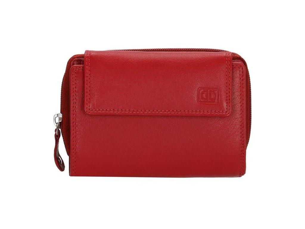 Kožená dámská malá peněženka Double-d - červená