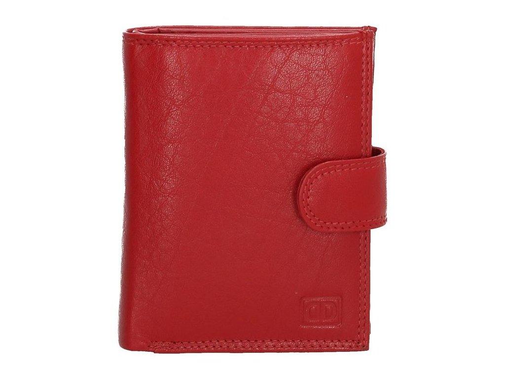 Kožená peněženka Double-d s přezkou - červená