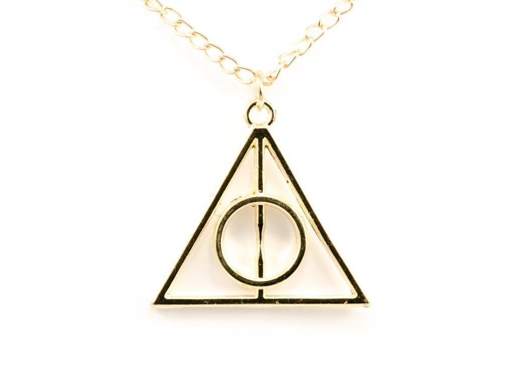 Harry Potter relikvie smrti náhrdelník - zlatý