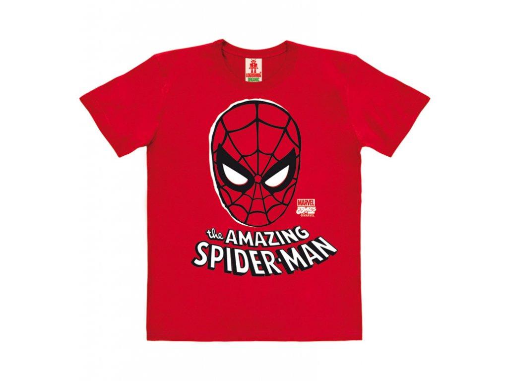 Dětské organické tričko - Marvel - Spider-Man - Mask - červené