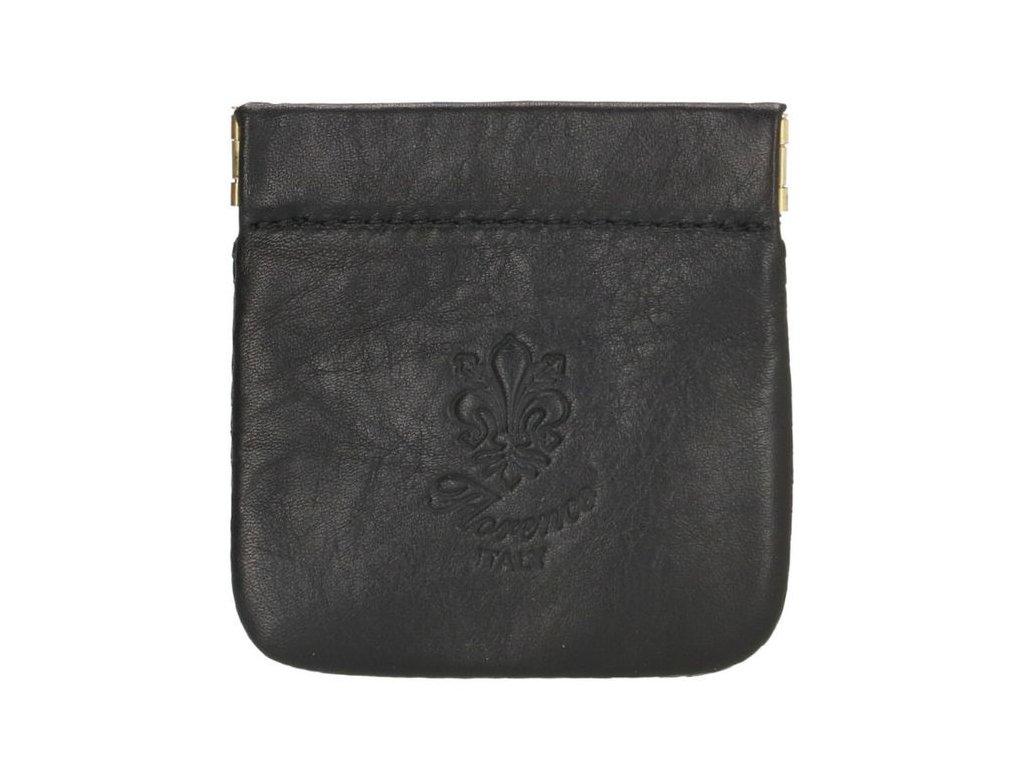 Kožená kapsa na mince - černá
