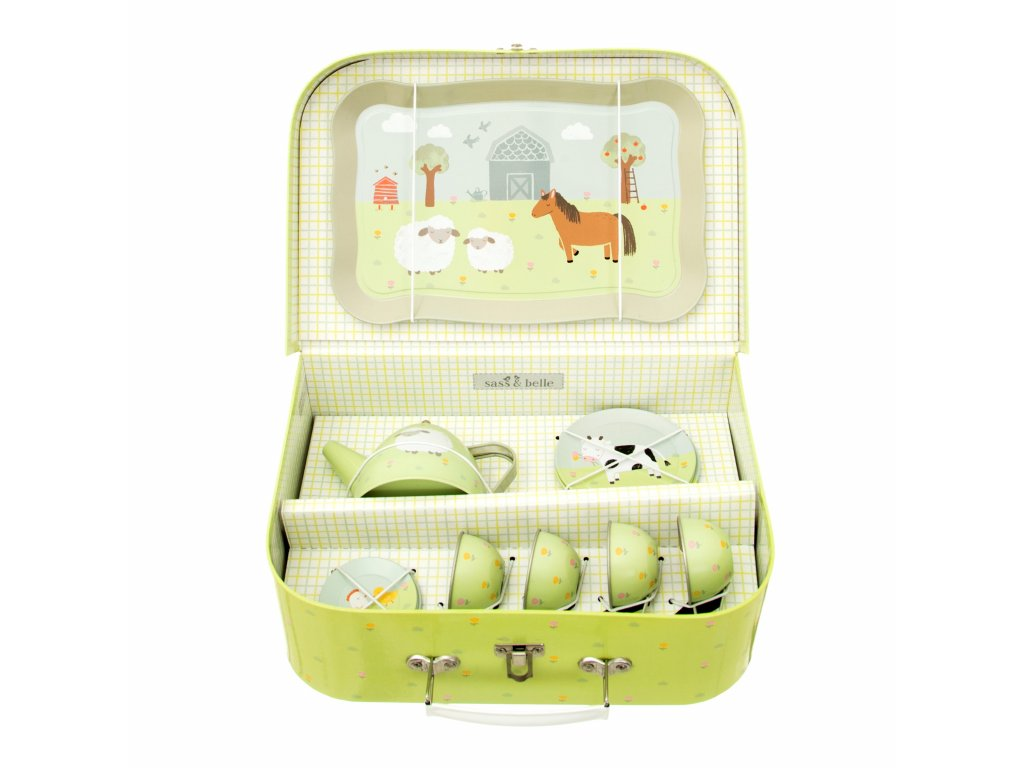 Cínový kufřík s čajovou souprava Farma Sass & Belle