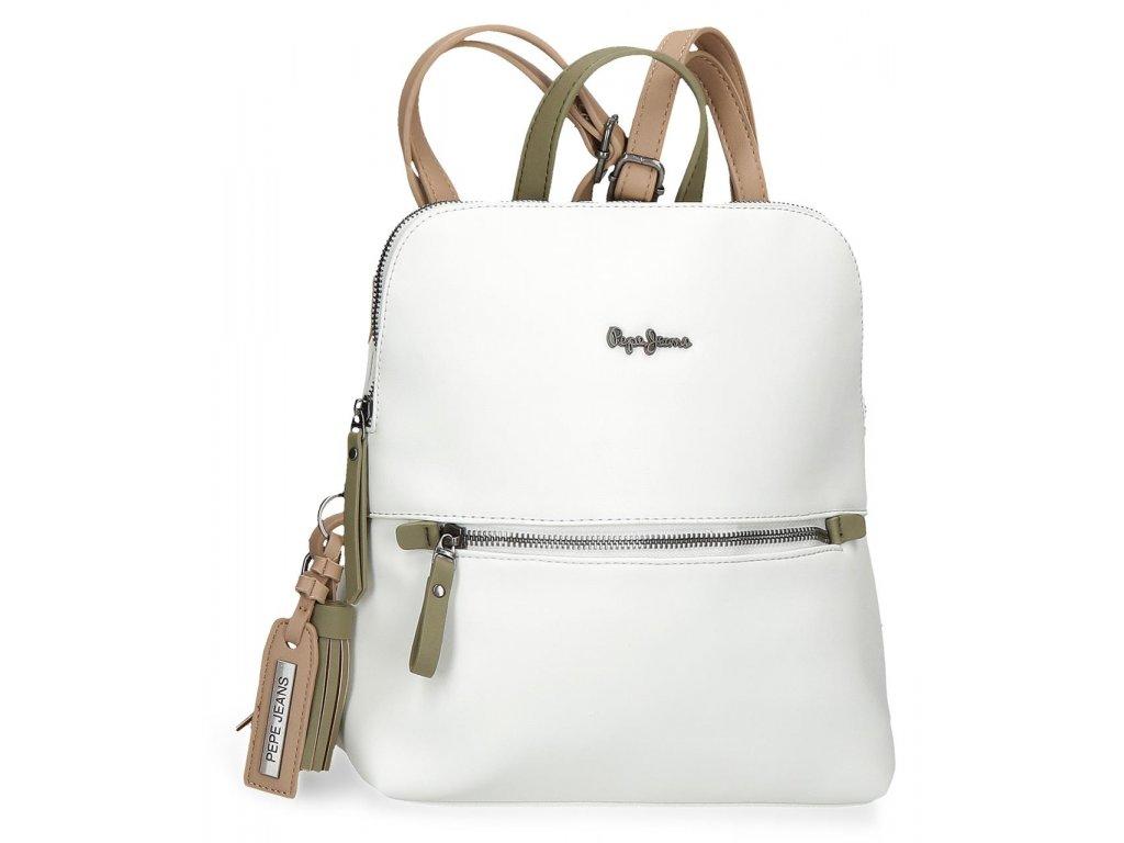 Dámský elegantní batoh Pepe Jeans Zaida hranatý - bílý