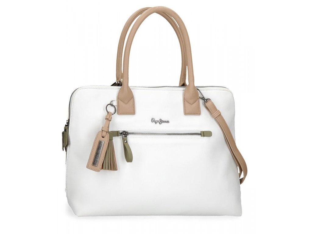 Elegantní dámská laptop kabelka Pepe Jeans Zaida - bílá
