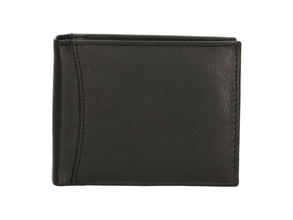 Pánská kožená peněženka bez zapínání - černá