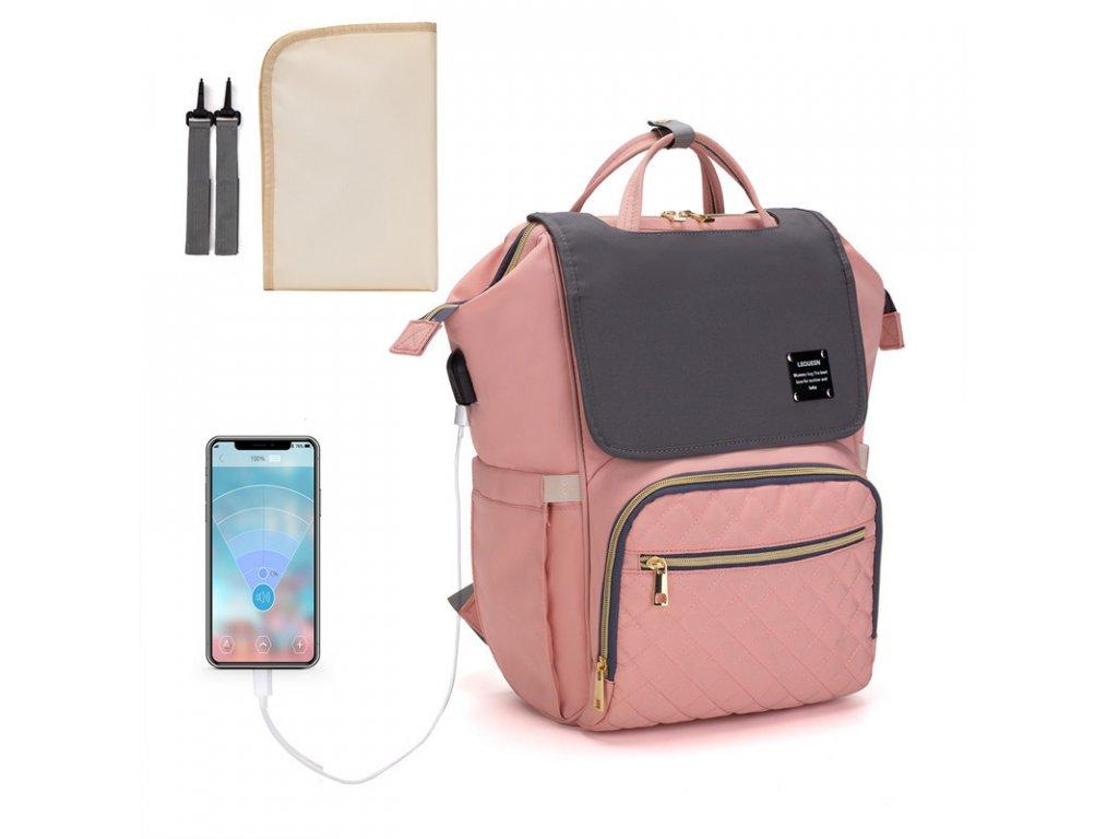 Multifunkční designový Mama batoh proti vykradení Lequeen - růžovo-šedý