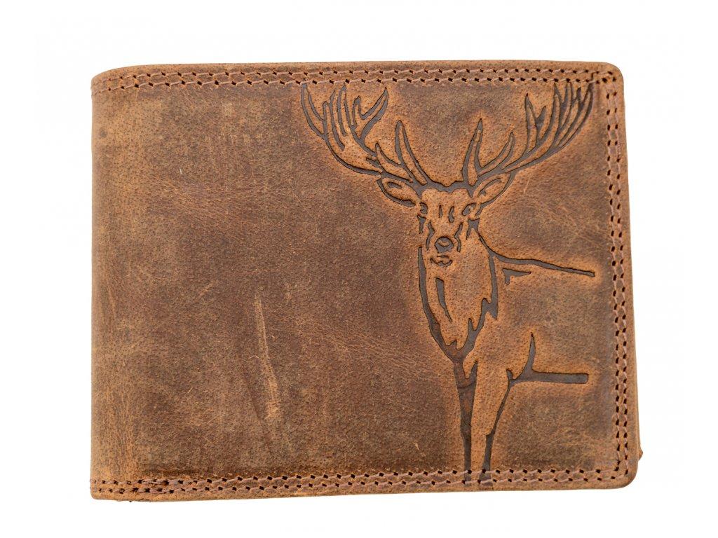 Luxusní kožená peněženka s jelenem