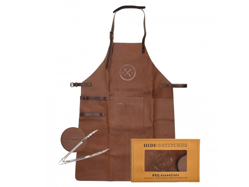 Kožená grilovací zástěra v dárkovém boxu s podtácky Hide & stitches barbecue / grill - hnědá