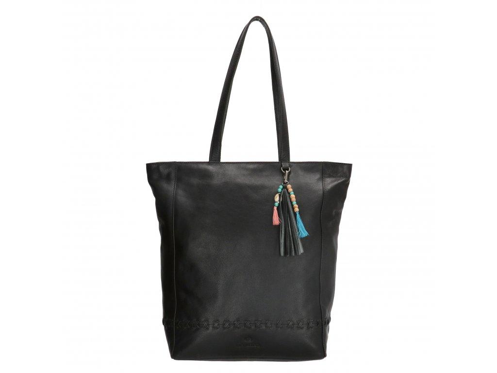 Dámská kožená taška shoperka Micmacbags friendship - černá