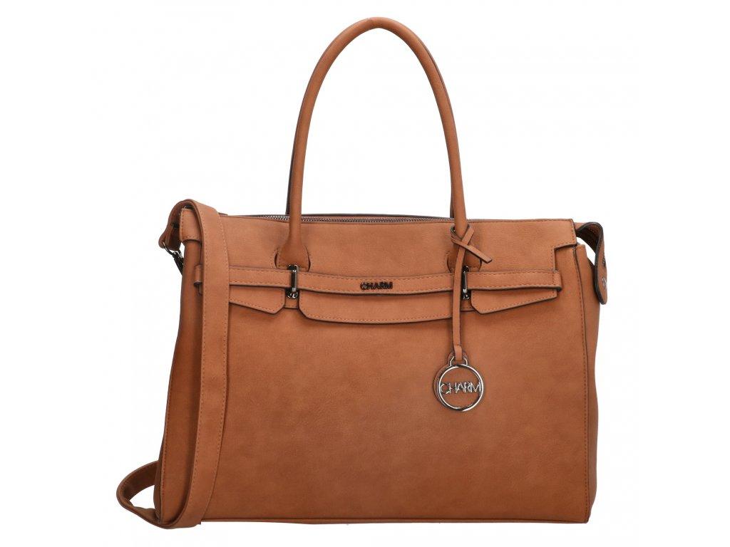 """Elegantní dámská kabelka na notebook Charm London Bromley - 15,6 """" (38 cm) - koňaková"""