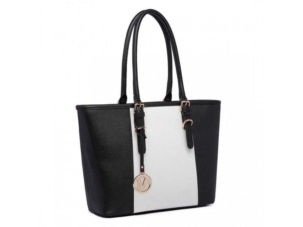 Elegantní kabelka černá s bílým pruhem