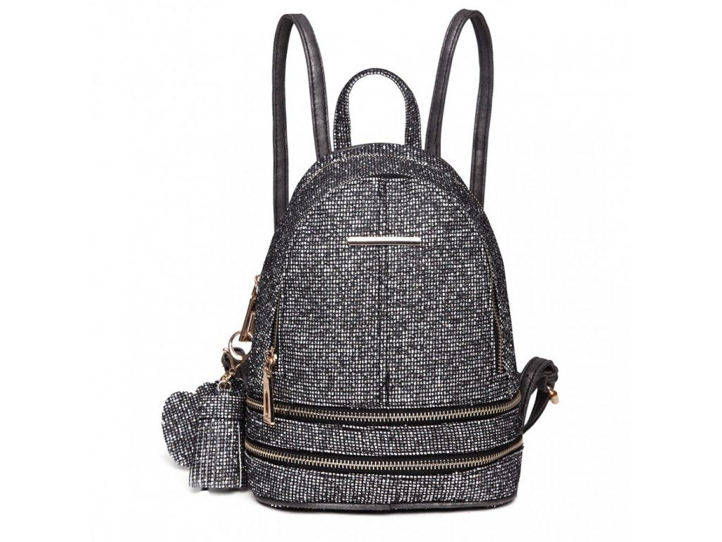 Rozkošný černý batůžek Miss Lulu s třpytivými kamínky