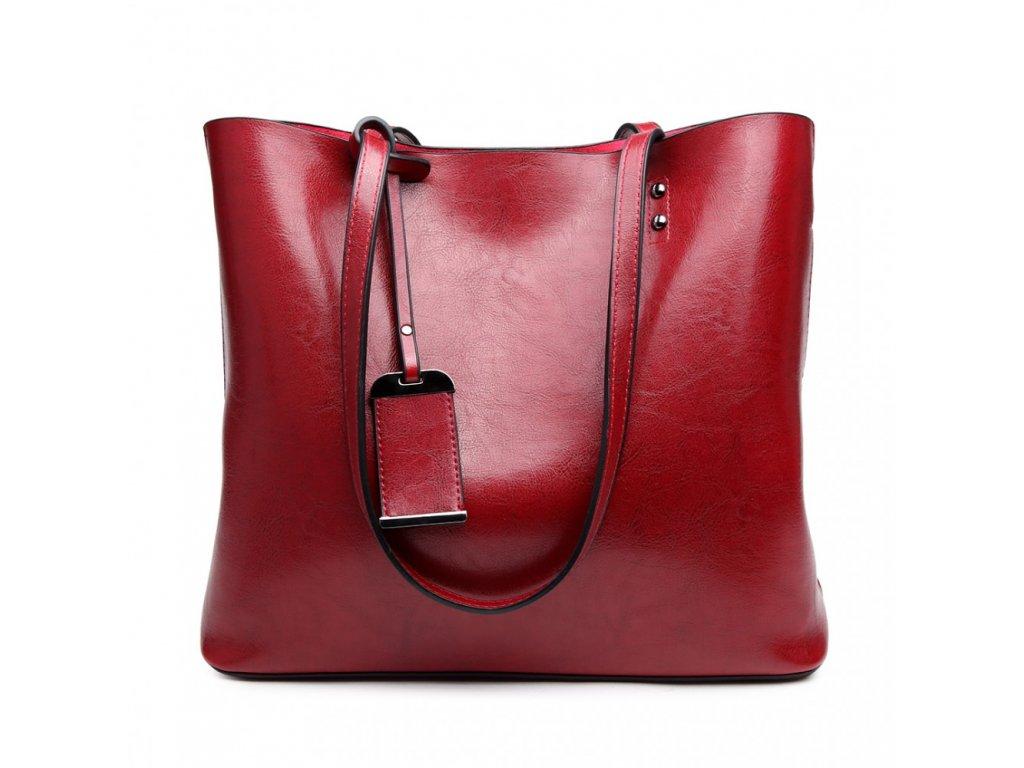 Červená elegantní dámská taška na rameno - lesklá kůže