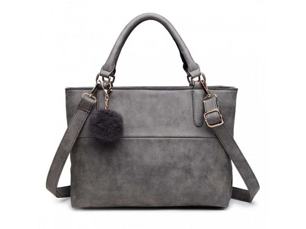 Miss Lulu - žíhaná kabelka - šedá