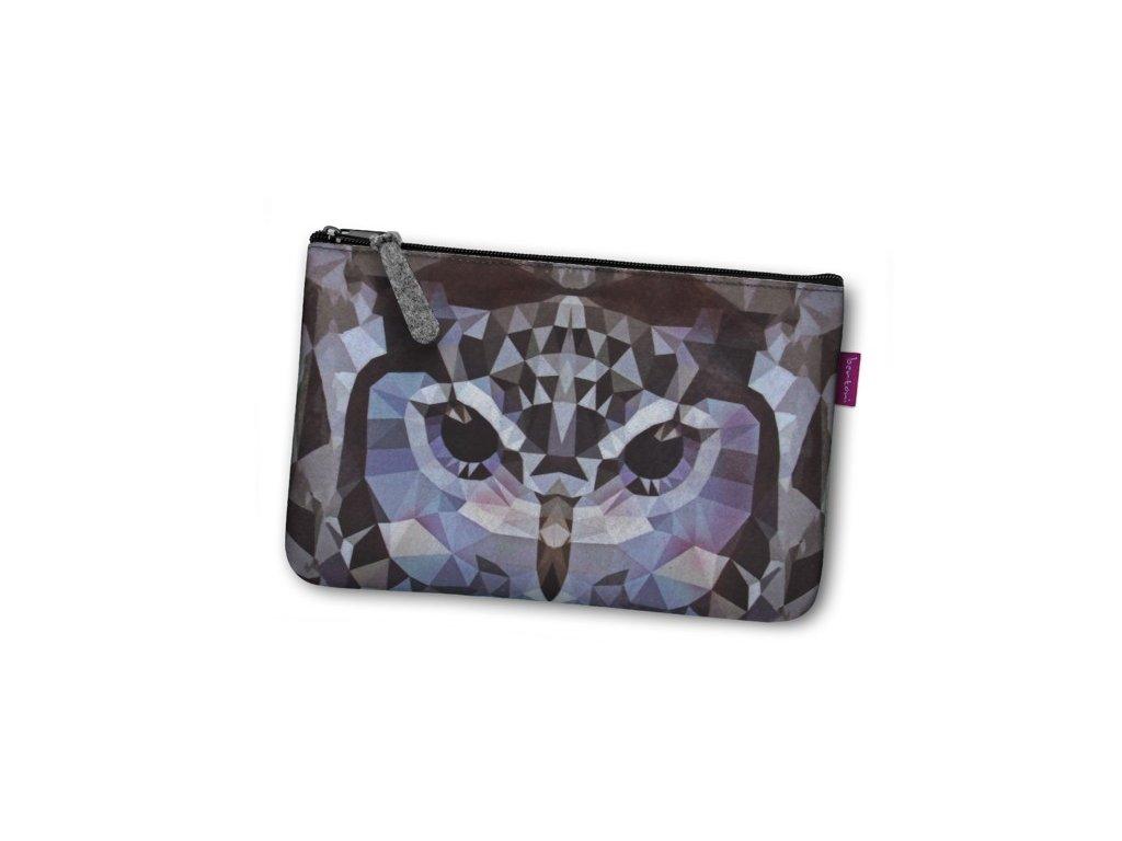 Kosmetická eko taška Sova šedá