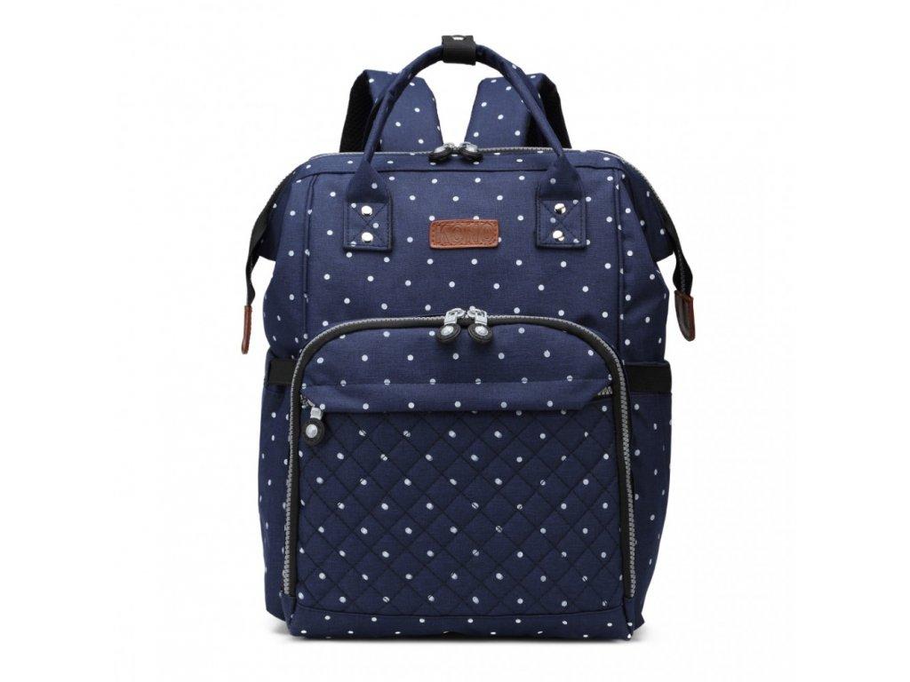 Přebalovací batoh na kočárek - modrý s puntíky