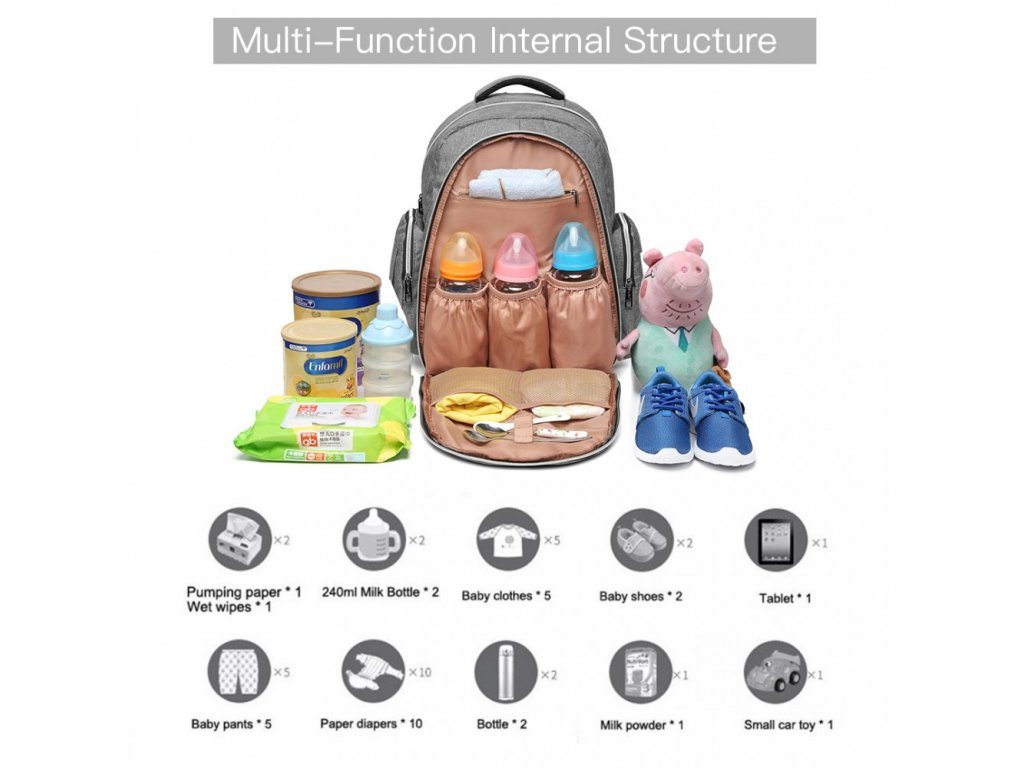 Přebalovací batoh s doplňky na kočárek - šedý