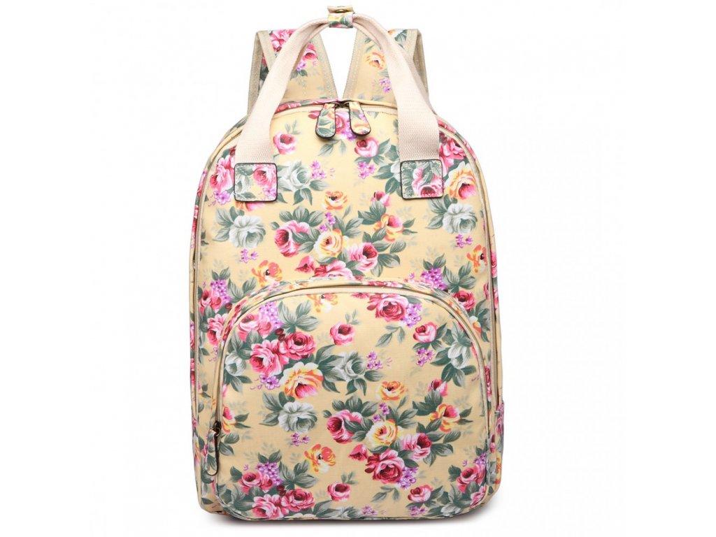 Designový batoh na záda s potiskem - béžový - květiny