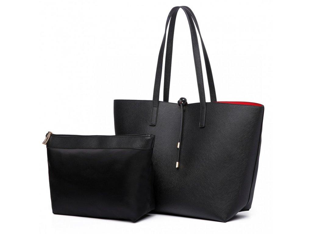 Oboustranná kabelka na rameno s kosmetickou taštičkou - černo-červená