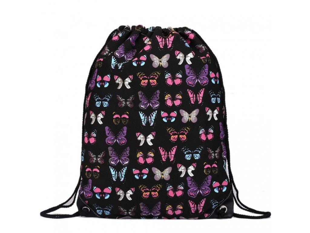 Vak na záda - Černý - Motýle