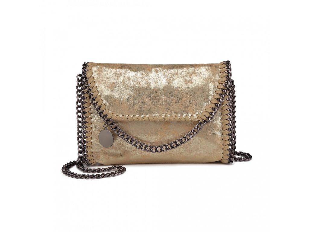 Stylová crossbody kabelka s řetízky - zlatá
