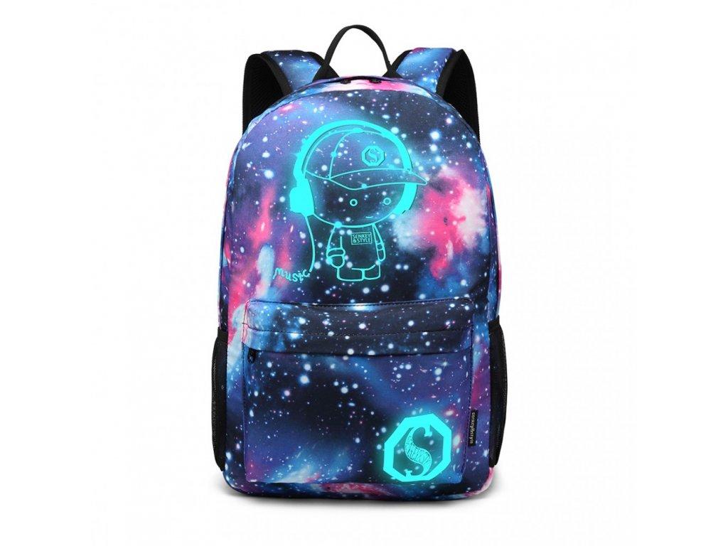 Chlapecký svítící školní batoh - Galaxy - modrý