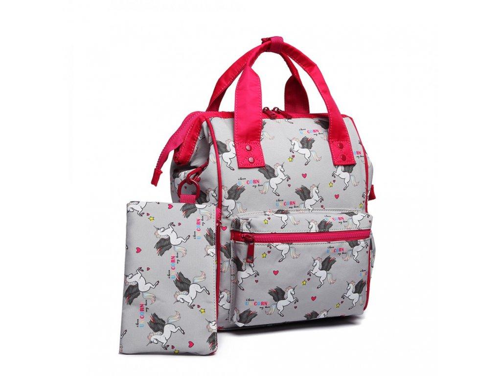 Univerzální batoh s potiskem jednorožců - šedý