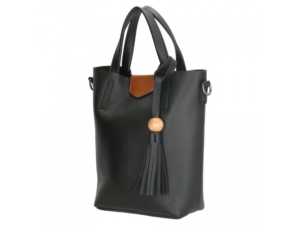 Stylová kabelka Charm s třásní - černá