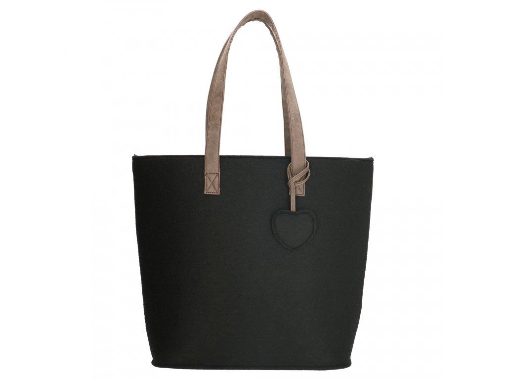 Filcová kabelka na rameno Beagles - černá