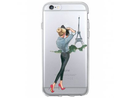 Kryt na mobil Iphone - Slečna u Eiffelovky s foťákem