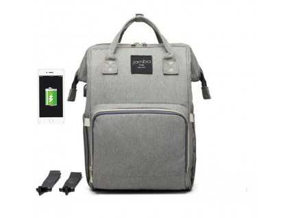 Multifunkční batoh na kočárek se zabudovaným ohřívačem a USB portem - Šedý