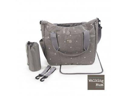 Přebalovací taška Walking Mum Gaby Grey - šedá s hvězdičkami