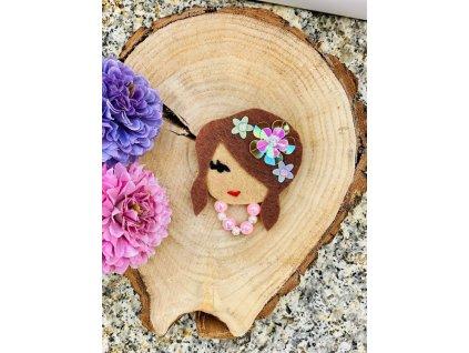 Handmade Filcová Brož Littletinka Květěna