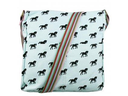 Crossbody taška z canvas plátna - Mint - koně