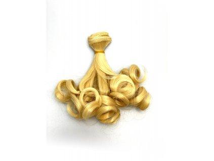 Umělé vlnité vlásky pro výrobu panenek - tmavší blond