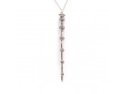 Harry Potter bezová hůlka Albuse Brumbála náhrdelník - starostříbro