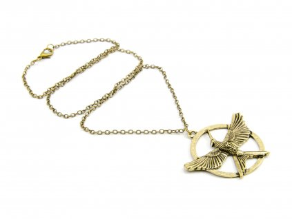 Hunger Games náhrdelník Reprodrozd - Mockingjay bronzový