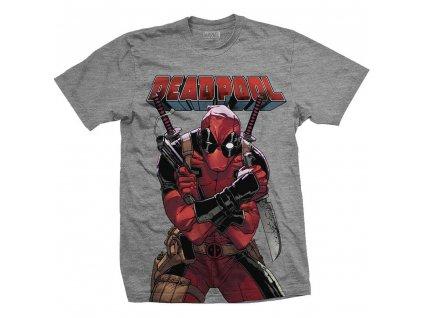 Tričko Deadpool Šedé