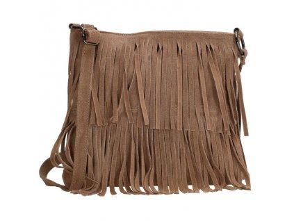 Crossbody kožená třásňová kabelka Charm London Elisa - taupe