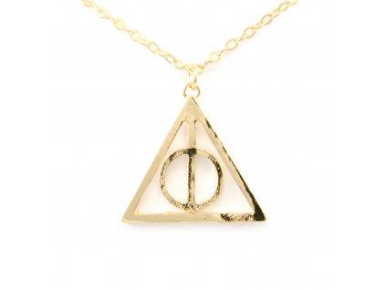 Harry Potter relikvie smrti náhrdelník s rotačním středem - zlatý