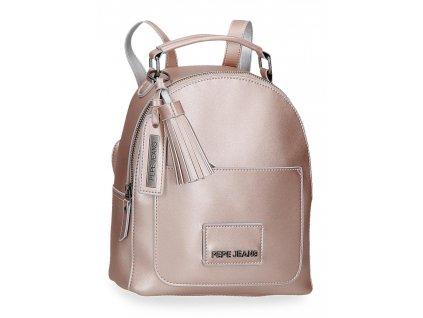 Dámský elegantní batoh Pepe Jeans Cira Metallic - růžový