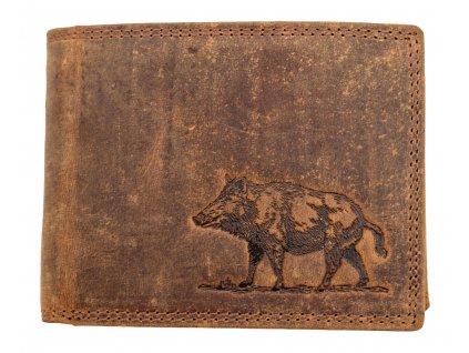 Luxusní kožená peněženka s divočákem