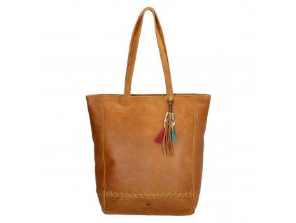 Dámská kožená taška shoperka Micmacbags friendship - camel