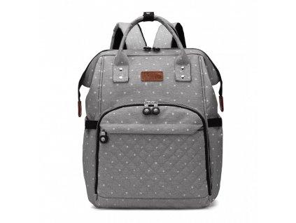 Přebalovací batoh na kočárek - šedý s puntíky